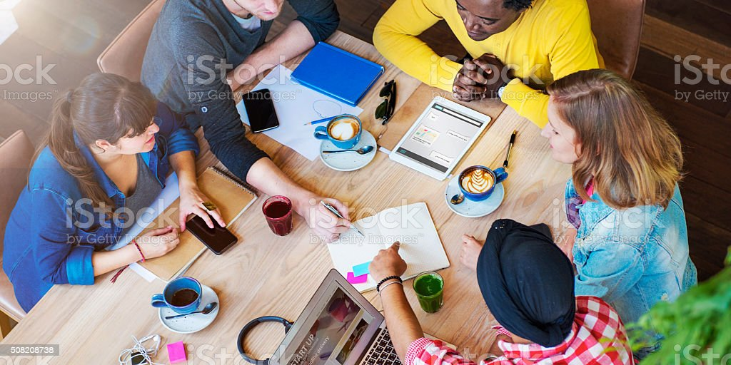 Students Friends Meeting Discussion Studying Concept stock photo