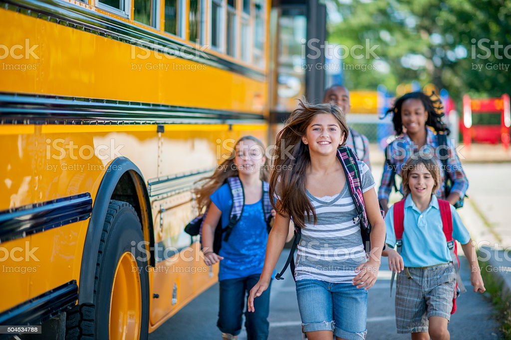 Students Going to School stock photo