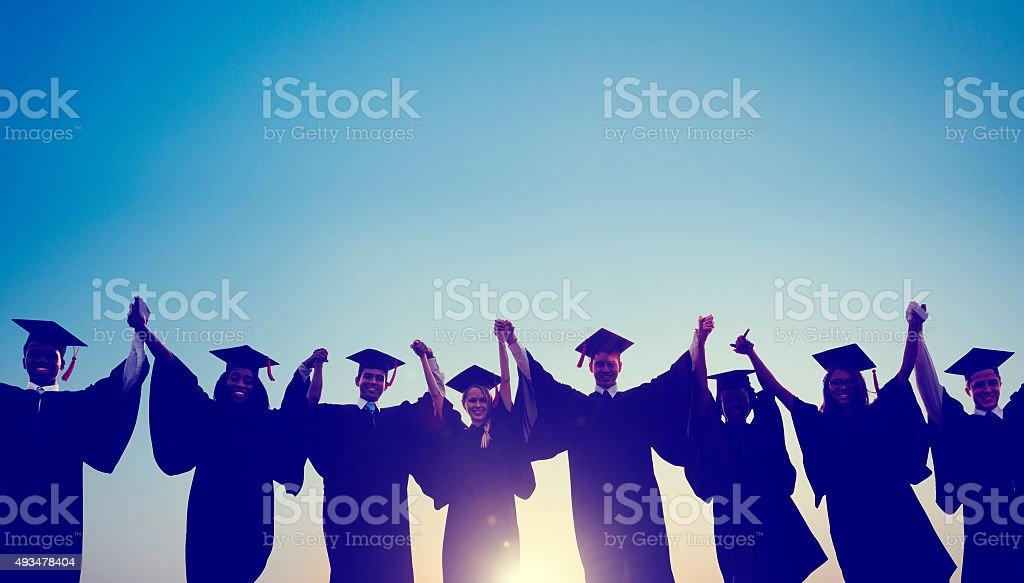 Students Graduation Success Achievement Celebration Happiness Co stock photo