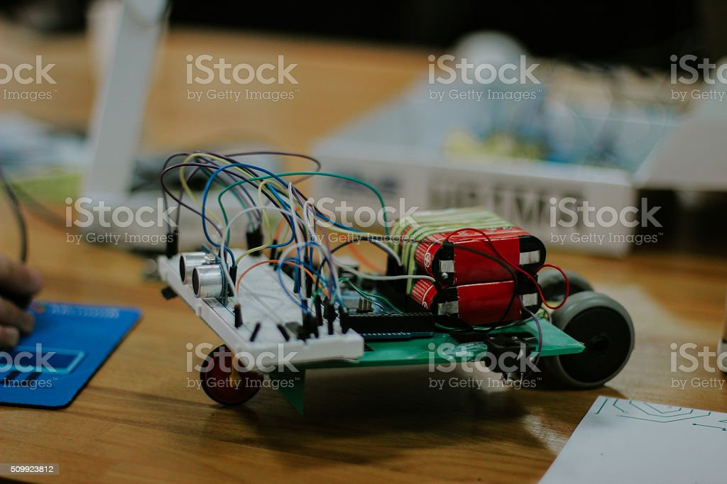 Student's Hand-Made Electronics Experiment stock photo