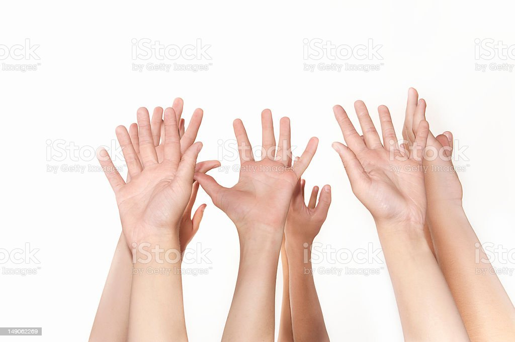 Students hands raised waiting for attention royalty-free stock photo