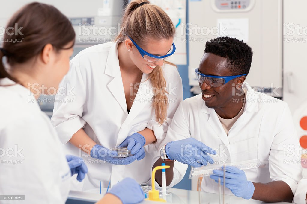 students happy microbiology stock photo