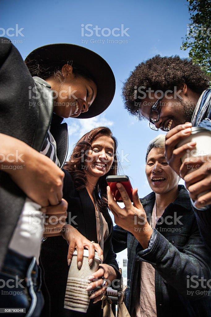 Students having a break in Central London stock photo
