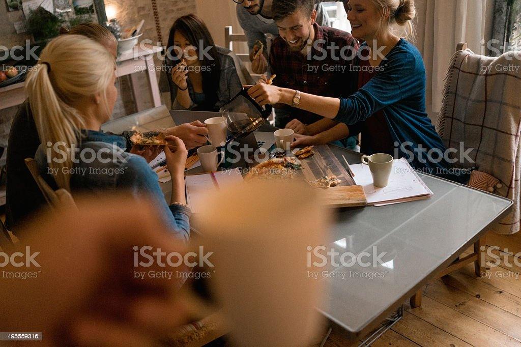 Students having coffee break- POV stock photo