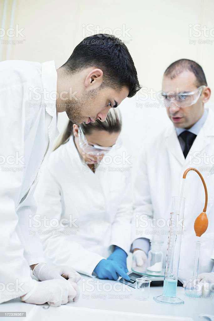 Students in a laboratory royalty-free stock photo