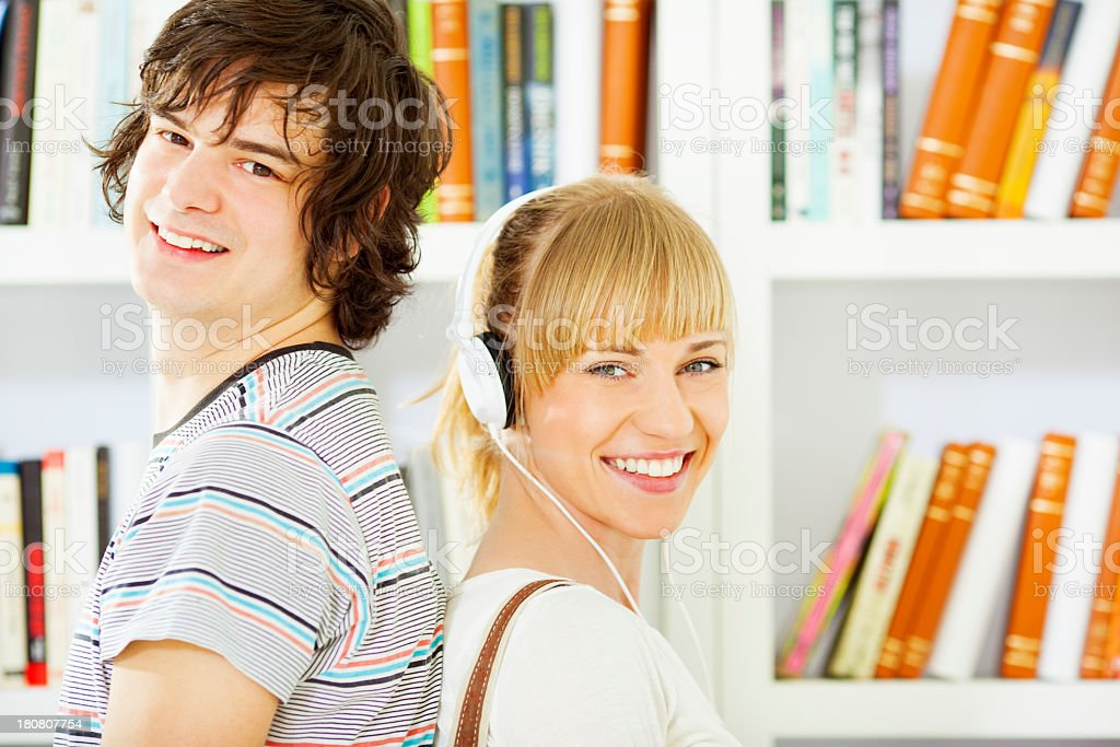 Students in a library. royalty-free stock photo