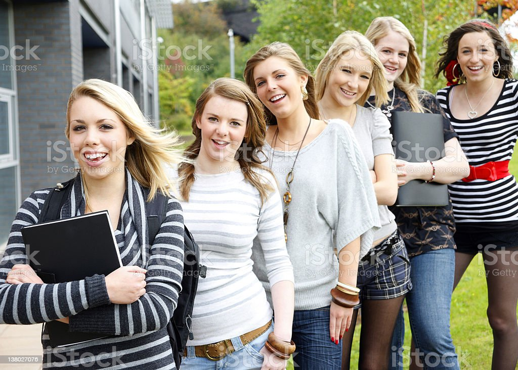 Students in a line royalty-free stock photo