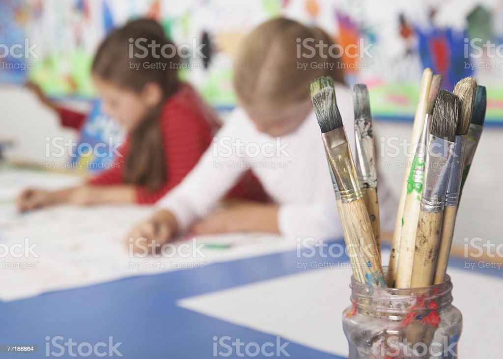 Students in art class stock photo