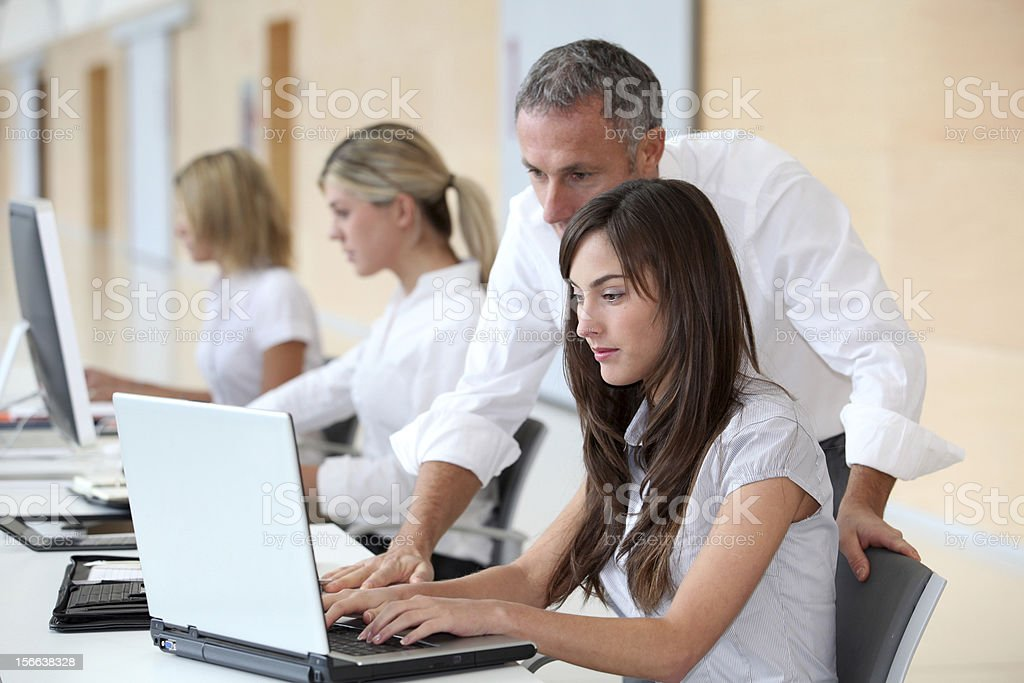Students in business training stock photo