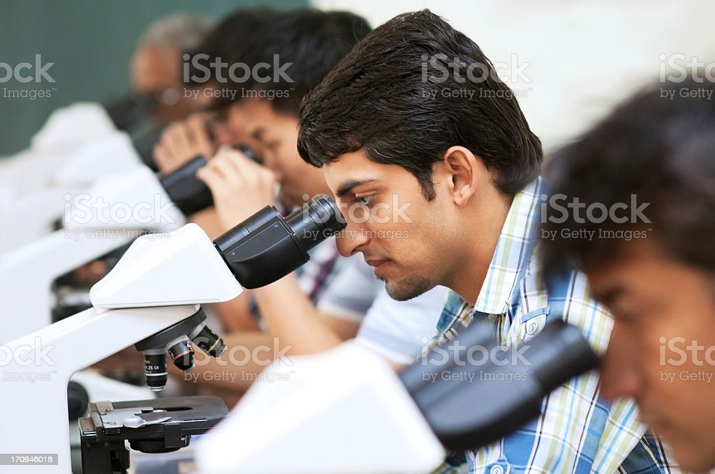 Students in chemistry class royalty-free stock photo