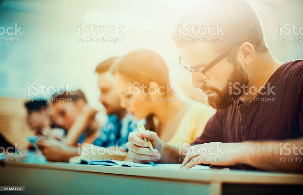 Students in class. stock photo