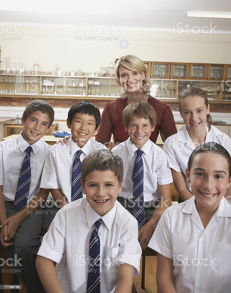 Students in class with their teacher royalty-free stock photo