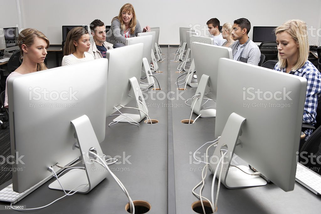 Students in Computer Classroom royalty-free stock photo