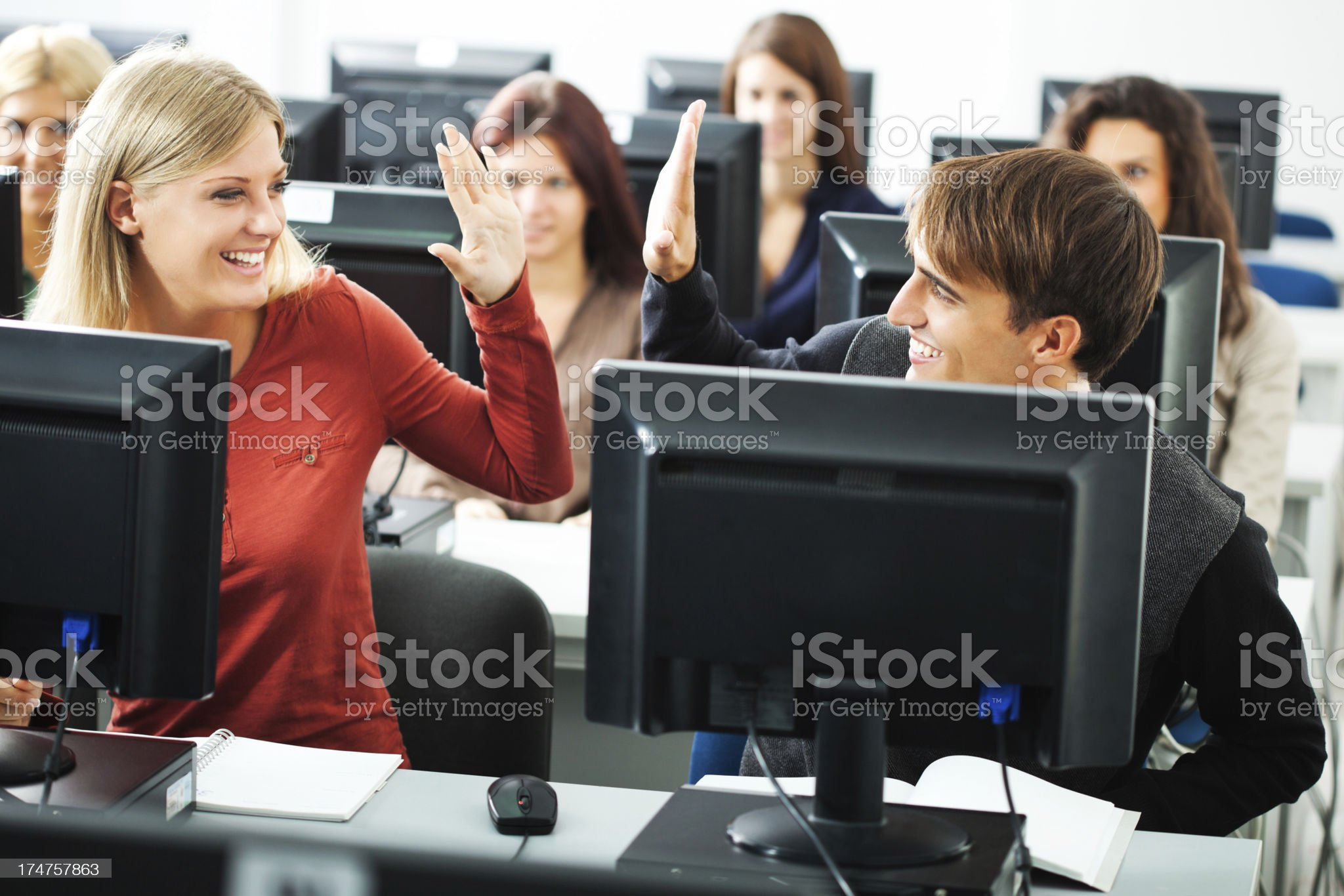 Students in computer lab royalty-free stock photo