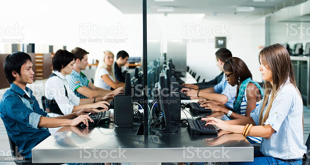 Students in computer room royalty-free stock photo