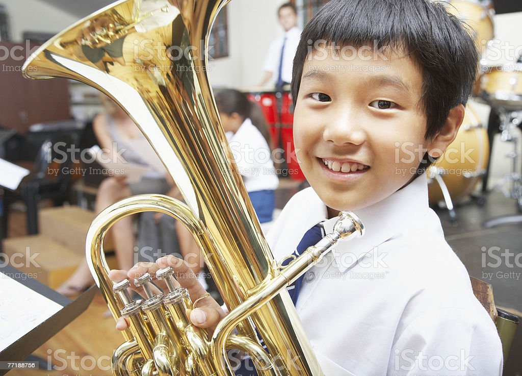 Students in music class stock photo