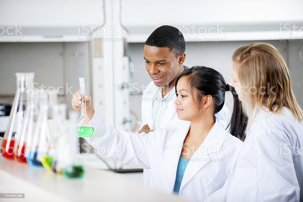 Students in science lab stock photo