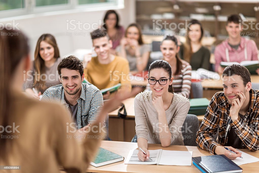 Students in the lecture hall. stock photo
