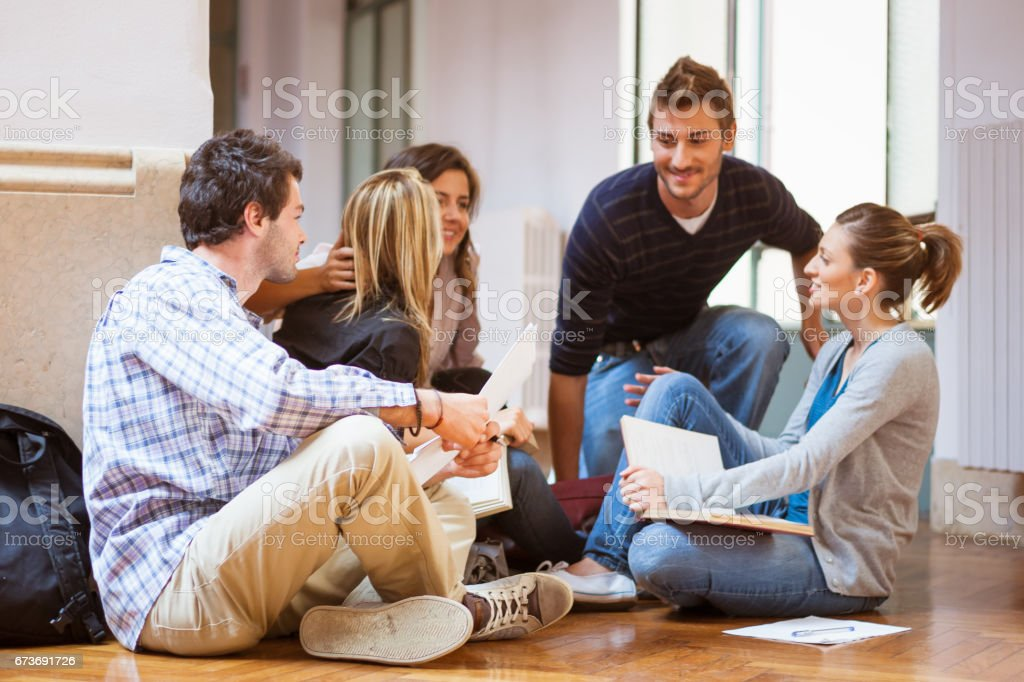 Students learing together in University stock photo