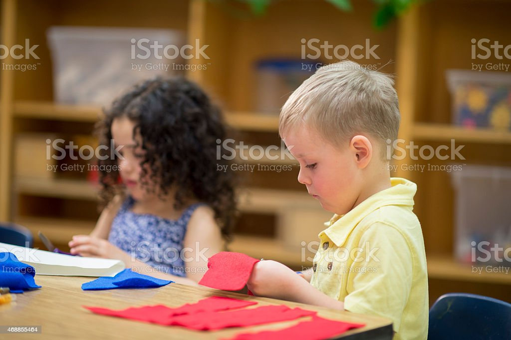 Students Learning Arts and Crafts stock photo
