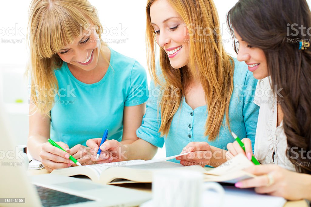 Students Learning At Home. royalty-free stock photo