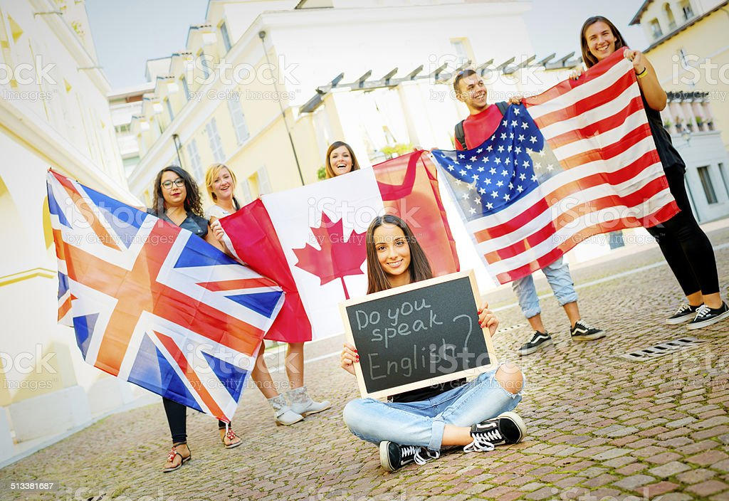 Students learning English stock photo