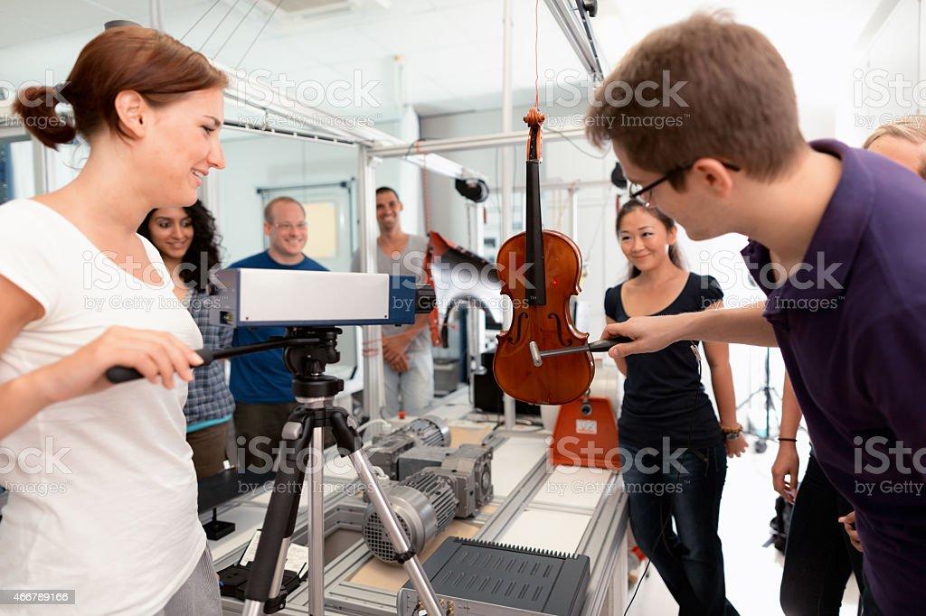 students lesson vibration laboratory stock photo