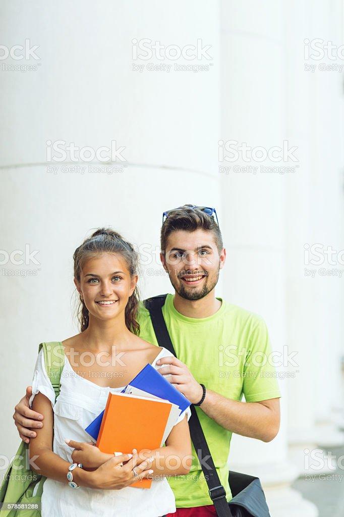 Students looking at camera stock photo
