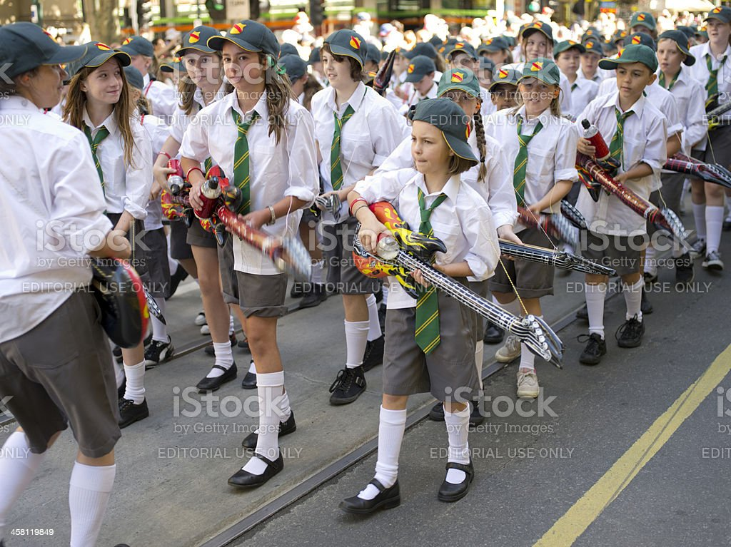 Students march with the Moomba Parade royalty-free stock photo