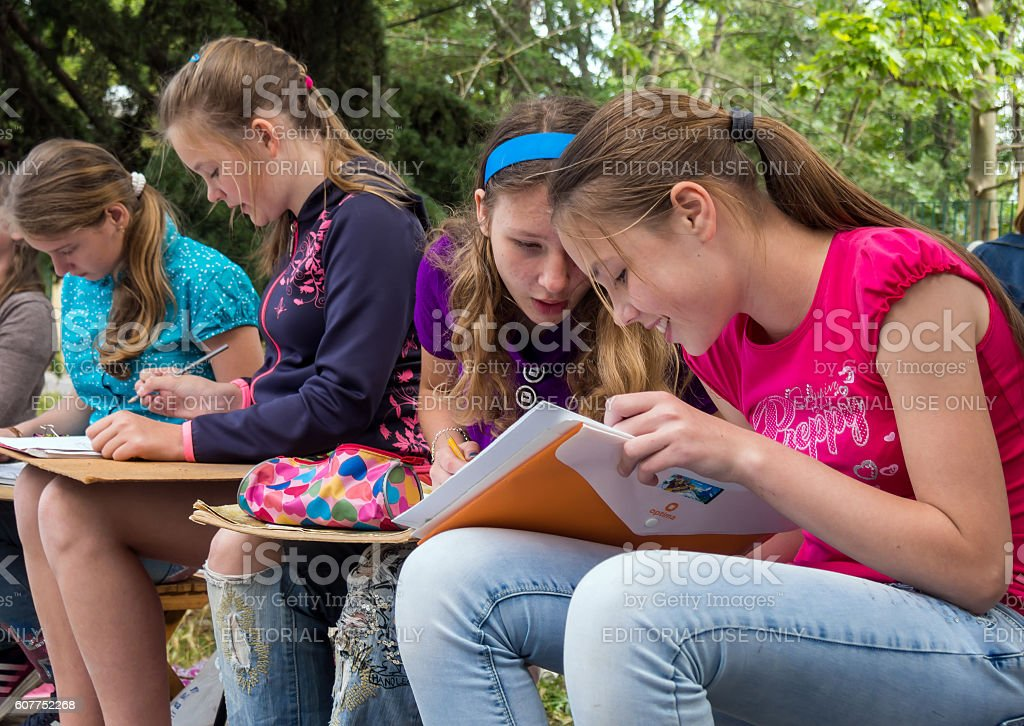 Students of art schools draw sketches stock photo