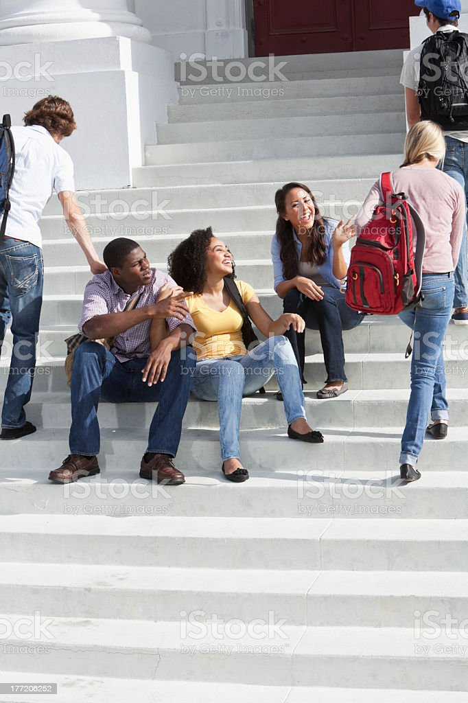 Students on campus royalty-free stock photo