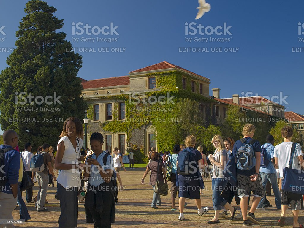 Students on university campus stock photo