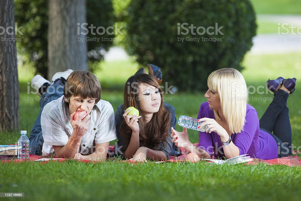 Students outdoors royalty-free stock photo