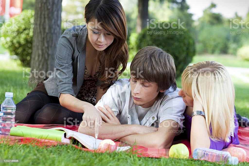 Students outdoors stock photo