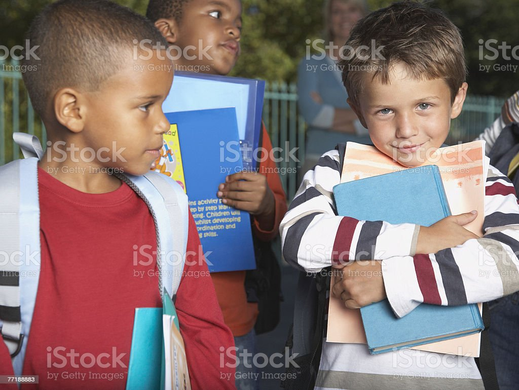 Students outside of school royalty-free stock photo