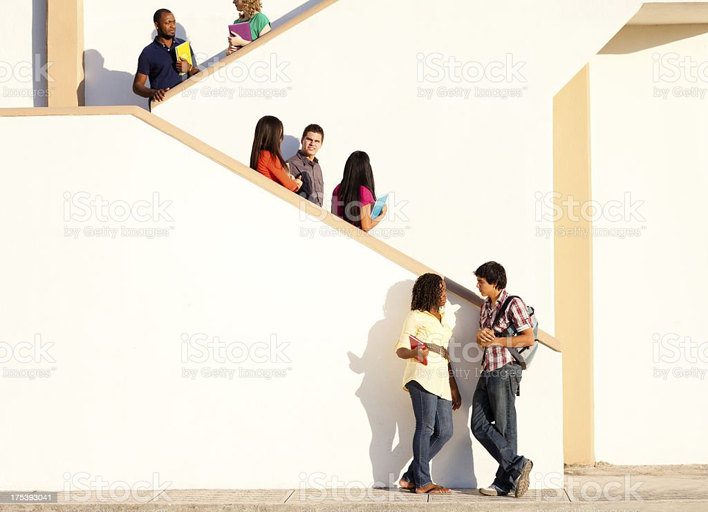 Students outside school royalty-free stock photo