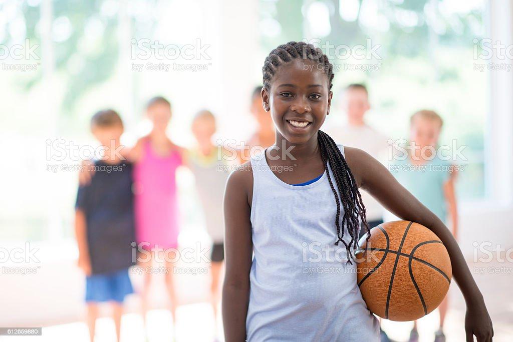 Students Playing Basketball stock photo