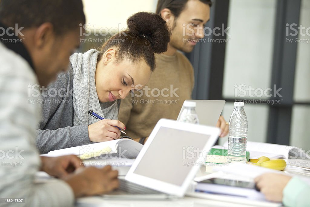 Students preparing their assignments stock photo