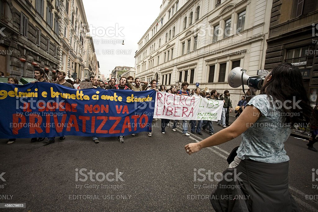 Students Protest in Italy stock photo