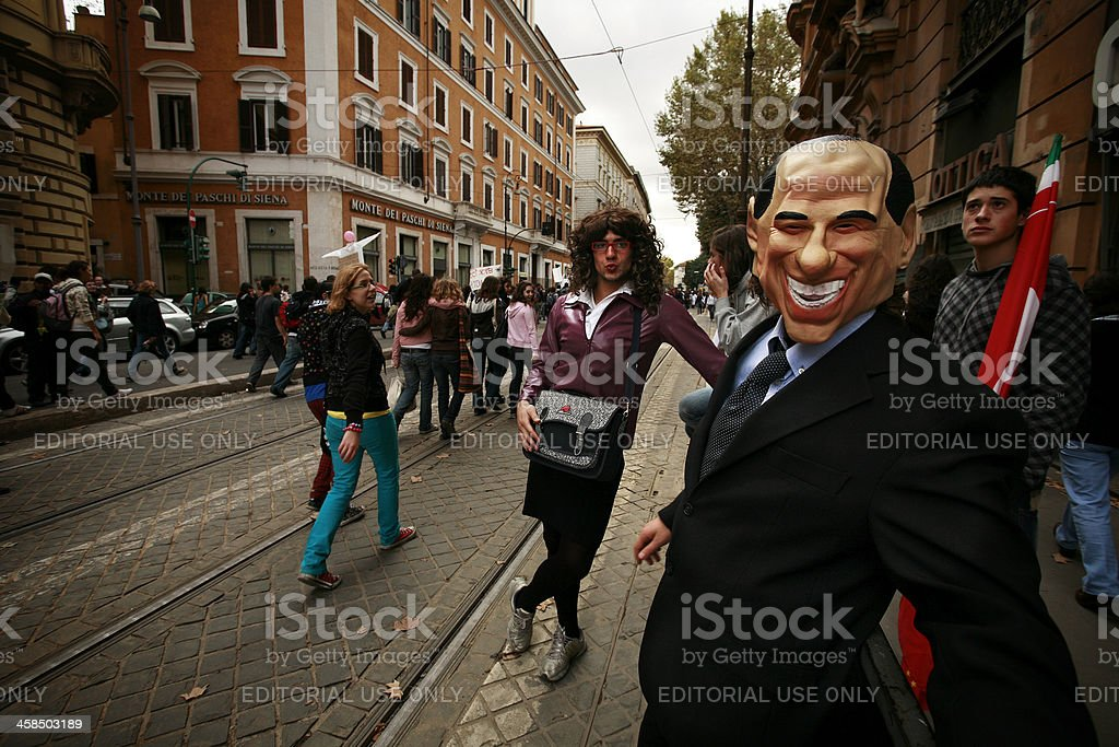 Students Protest with Silvio Berlusconi mask stock photo