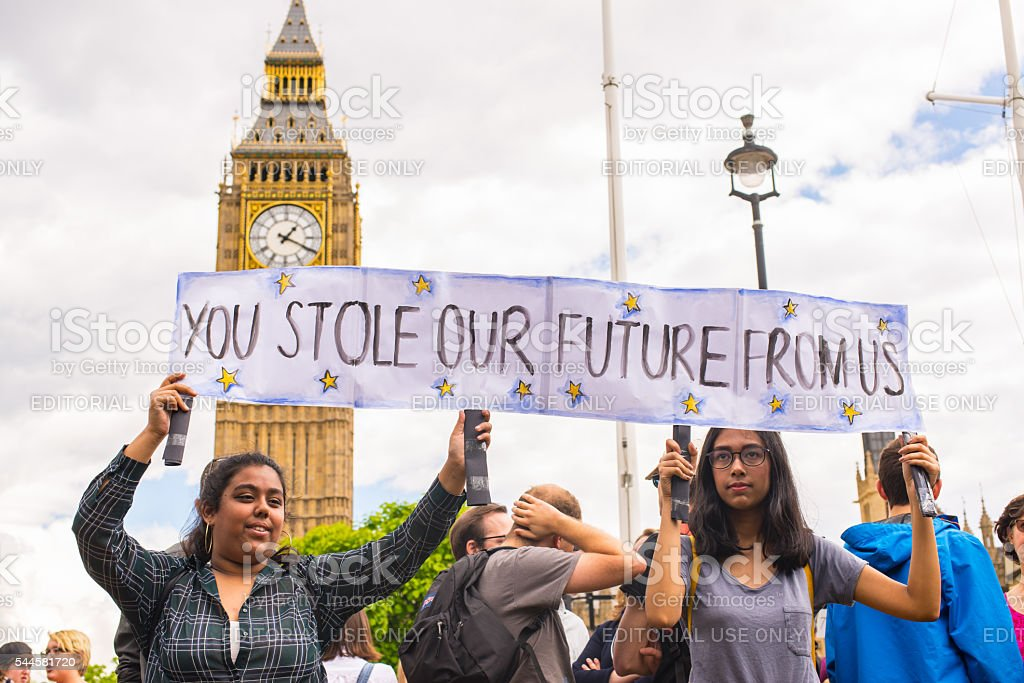Students protesting against Brexit in front of House of Parliament stock photo