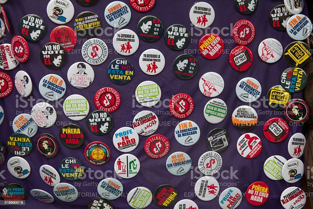 Students protests button badges stock photo