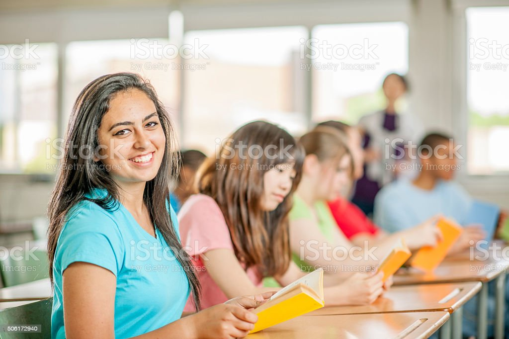 Students Reading a Novel in Class stock photo