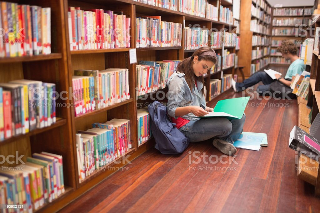 Students reading notes on floor in library stock photo