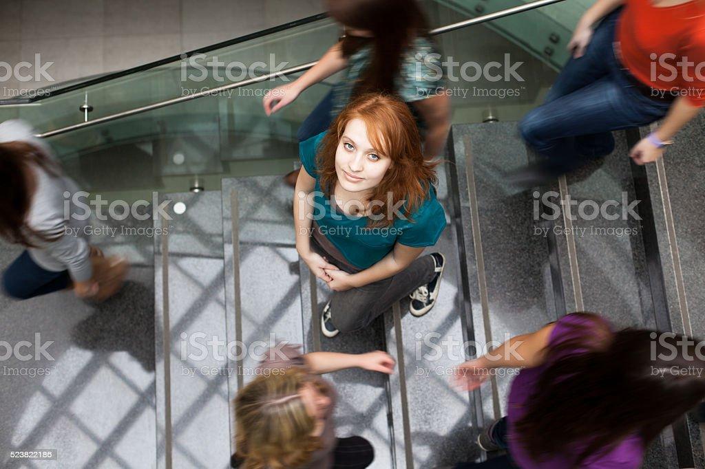 Students rushing at the university stock photo