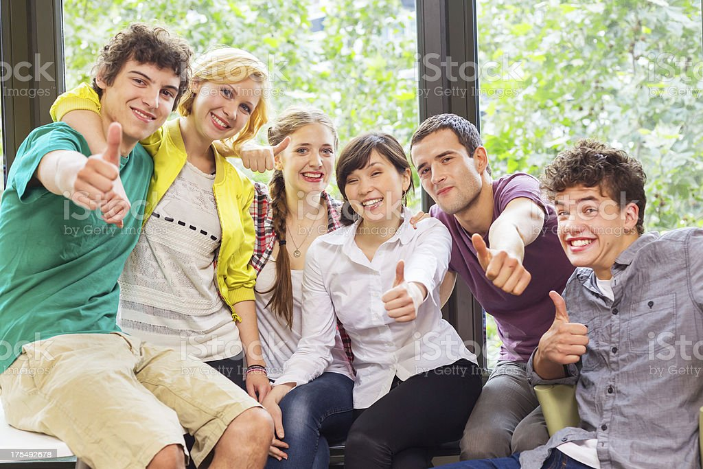 Students Showing Thumbs Up! royalty-free stock photo