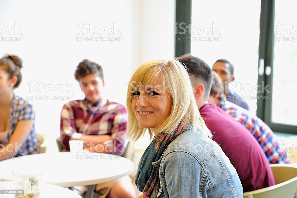 Students Sitting in a Cafeteria royalty-free stock photo