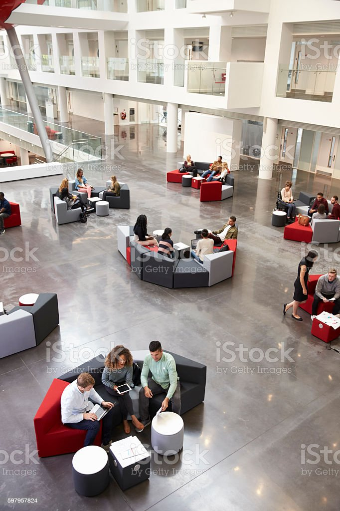 Students sitting in university atrium, vertical stock photo