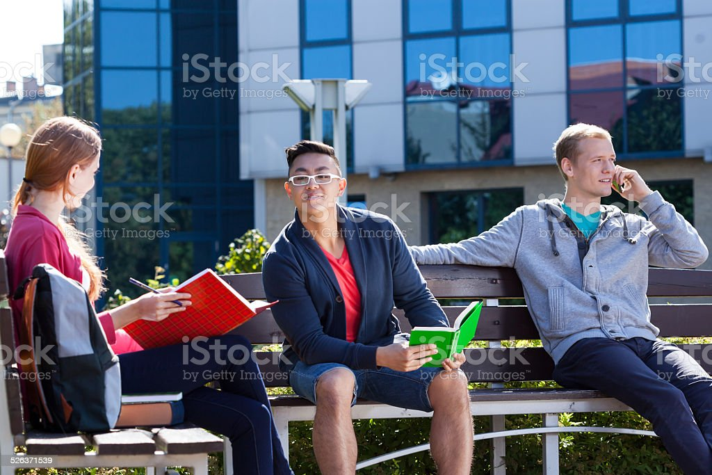 Students sitting on the bench stock photo