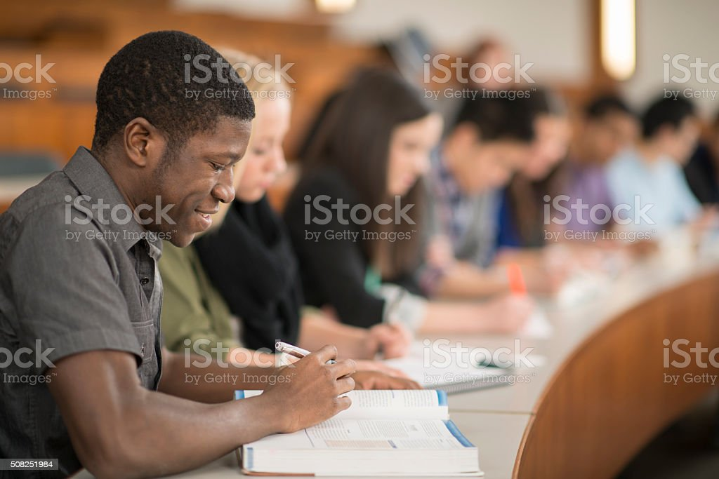 Students Studying in a Lecture Hall stock photo
